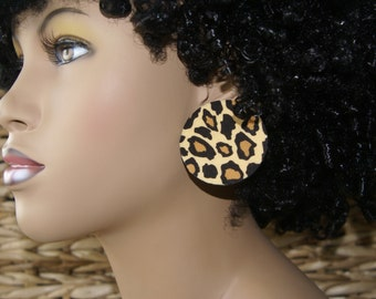 Large Cheetah Stud Earrings - Fabric Covered Wood Earrings