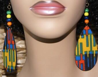 Fabric Covered Dangle Wood Earrings