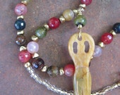 Bohemian Goddess Stone Necklace - Faceted Multi-Colored Agates