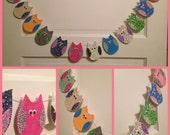 Cute Fabric Owl Garland Assorted Colors Handmade