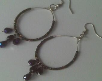 Midnight Prism, Upcycled Vintage Black Crystal and Silver Hoop Earrings,One of a Kind Hoop Earrings ,Triple Crystal Drop HOOP Earrings
