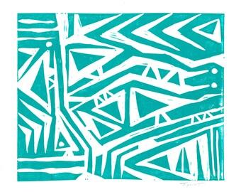 10 DOLLAR SALE - Linocut Print - Abstract Tribal Design 8 x 10 Block Print - Clearance