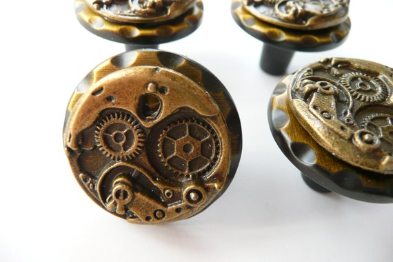 Items Similar To Steampunk Watch Movement Cabinet Knobs   All Bronze   Set  Of Two On Etsy