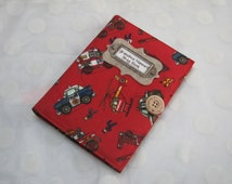 Brag Book  Personalized Photo Album holds 48 Photos - Little Boy Fire Engines-Police Cars-Trucks