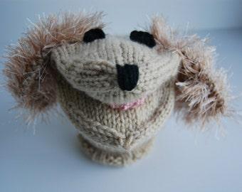 Knit animal puppet, buff puppy puppet, hand knit puppet, knit toy puppet, dog hand puppet, knit dog puppet, dog sock puppet, puppy puppet