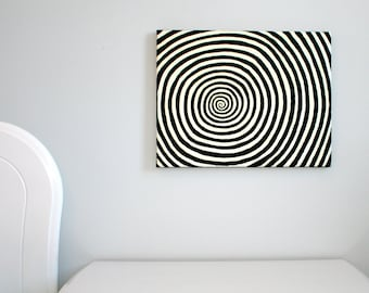 Beetlejuice, Alice in Wonderland, Tim Burton, Glow in the dark, hypnotism, trippy, spiral, modern art, original painting, black and white