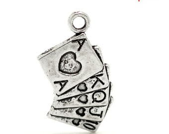 10 Poker Charms - Antique Silver - 25x13mm - Ships IMMEDIATELY  from California - SC469
