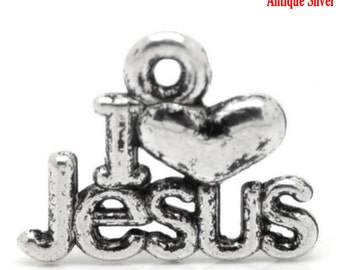 I Love Jesus Message Charm Pendant Silver 16x13mm 10pcs- Ships Immediately from California - SC572