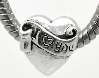 5 Heart Beads - Antique Silver - I Love You - Wide Hole Spacer - 12x11mm -  Ships IMMEDIATELY  from California - B601