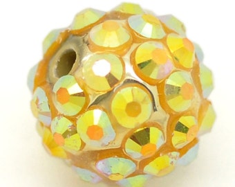 5 Gold Rhinestone Beads - Ball Beads - 14mm -  Ships IMMEDIATELY from California - B653