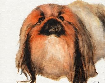 Original Oil Dog Portrait Painting PEKINGESE Artwork Art from Artist Signed Puppy