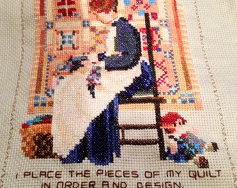 My Quilt-Finished Cross Stitch-Ready for Framing