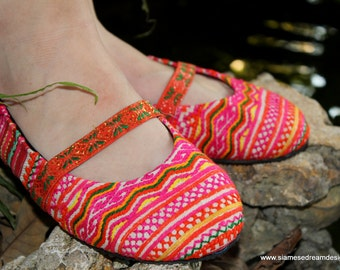 Ethnic Hmong Pink Orange and Yellow Embroidered Womens Ballet Flats Shoes - Micha