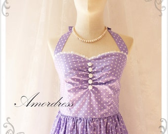 Purple Bridesmaid Dress Vintage Inspired Dress Halter Neck  Summer Dress Purple Polka Dot  Once Upon a Time - Size XS