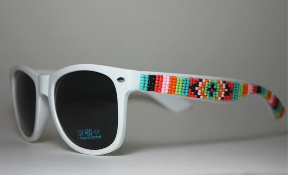 Beaded Sunglasses White Coral