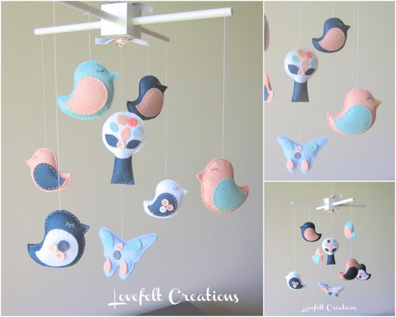 Baby crib mobile baby mobile bird mobile for Bird mobiles for nursery