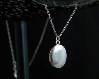 Petite Silver Oval Locket Necklace