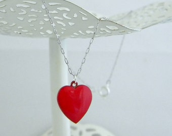 Vintage Red Enamel Heart Charm Necklace