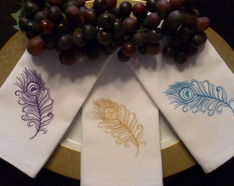 CHOICE of Color Set of 6 Cloth Cotton Embroidered Dinner Napkins- PEACOCK Feather