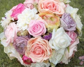 No.01 Boho Silk & Dried Flower Hand Tied Bridal Bouquet-Rustic,Vintage,Lace,Garden Flowers,Roses,Summer,Pastels,Wild,Romantic,Heirloom
