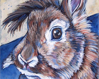 """5"""" x 7"""" Custom Pet Portrait Painting in Acrylic Paint on Canvas of One Rabbit, Dog, Cat, Other Animal, Pet Gift or Rainbow Bridge Memorial"""