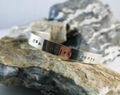 "Dum Spiro Spero Infertility / Fertility Hand Stamped Cuff Bracelet - ""While I breathe, I hope."""