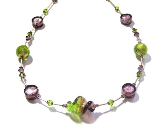 Murano Glass Necklace, Venetian Jewelry, Italian Jewelry, Green Purple Necklace