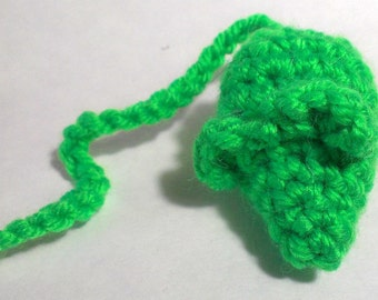 Electric Green Mouse Cat toy. crinkly or rattle, cat nip. bright