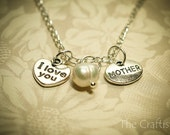 Mother's Day Necklace, Authentic Shell Pearl -HMP- Mother Necklace, I Love You Necklace, Mother's Necklace, Mom Necklace, Mother's Day Gift