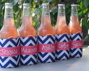 Personalized Can Coolers set/6 Monogram Monogrammed Great for Bridal Wedding Bachelorette
