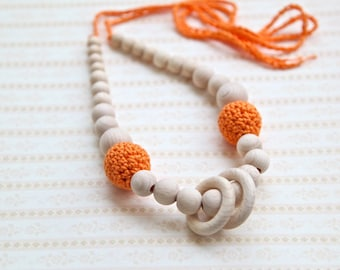 Orange nursing rings necklace. Girls crochet necklace. Mammy and baby teething necklace.