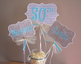 Anniversary Centerpiece Gold Golden 50th Large Picks Aqua Cream Decor Table