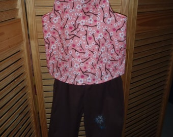 4T Girls Tank Top and Ruffled Pants Set pink Brown Floral Embroidered pants