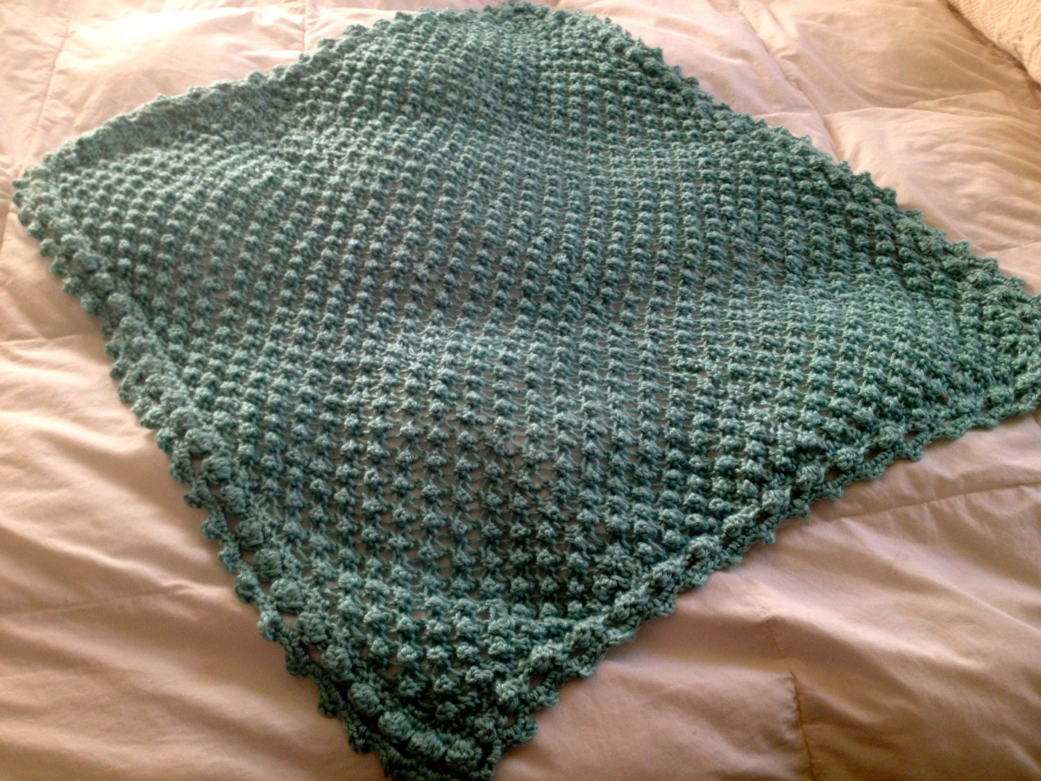 Knit Popcorn Stitch Baby Blanket : Hand Knit Baby Blanket in Popcorn stitch pattern with
