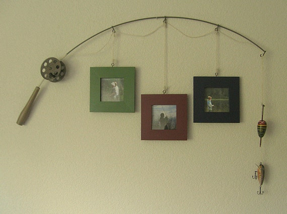Fishing Pole Picture Frame Metal Brown 3 Frames