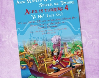 Peter Pan and Captain Hook Birthday Invitation