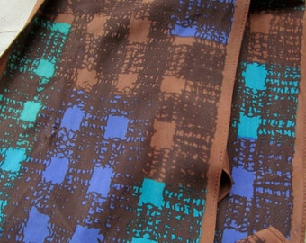 1970s Vintage VERA Neumann Silk Scarf with a Brown, Green and Blue Geometric Design