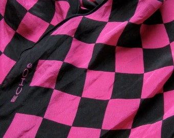 Vintage ECHO Pink and Black Checkered Silk Scarf