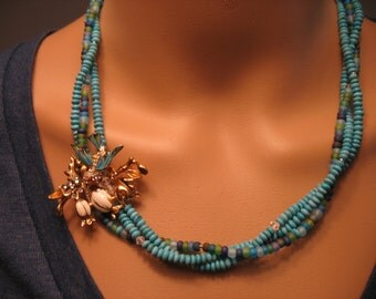 Vintage Blue Bird And Turquoise Necklace