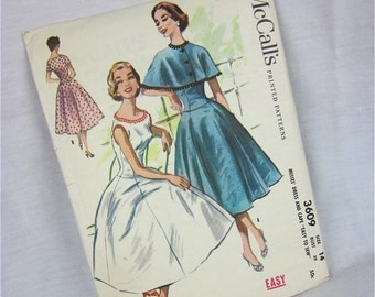 Vintage 50s Dress and Capelet Pattern, McCalls 3609