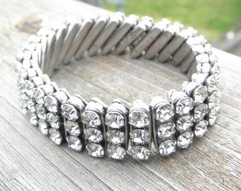 Vintage Estate Clear Crystal Rhinestone Accordion Stretchy Bracelet
