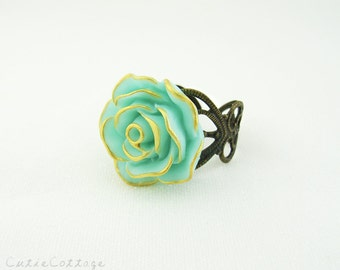 Mint and Gold Rose Flower Ring