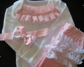 Baby Girl Coming Home Outfit Pink Clothing Set Pants Onesie Ruffles Bling and Bows