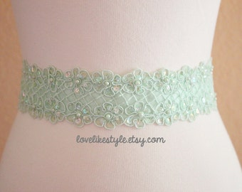 Mint Green Organza Flower Lace with Mint Green Satin Ribbon