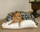 Leopard Dog Bed with Ivory Bottom for Dog or Cat - Machine Washable - bellapetbeds