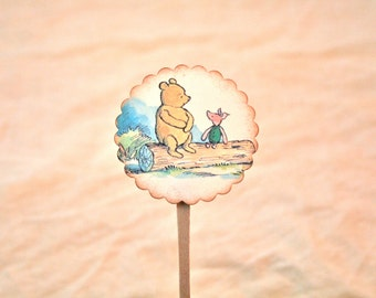 Winnie the Pooh  - Decorations - Cupcake Toppers - Piglet - Vintage Baby Shower -  Food Picks - Birthday Party