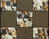 Fabric Squares 4x4 inch Dogs