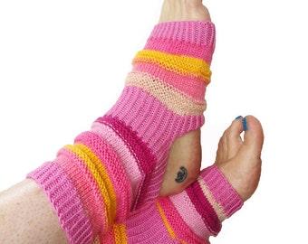 Yoga Socks, Handknit Pink Yoga Sock, Pilates, PiYo, Dance Socks, Pedicure Socks, Yoga Socks, Boho Socks, Hipster Socks, Gift, MADE TO ORDER