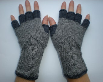 Hand-knitted grey and dark grey color women fingerless gloves