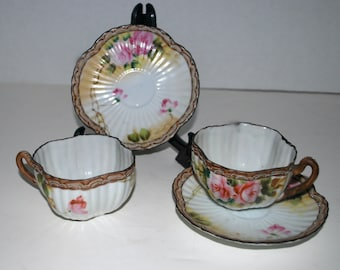 Nippon   cups and saucers hand painted china   rare design